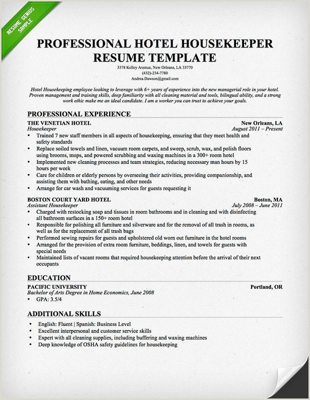 Standard Cv format Pdf Free Download Professional Housekeeper Maid Resume Template Free Download
