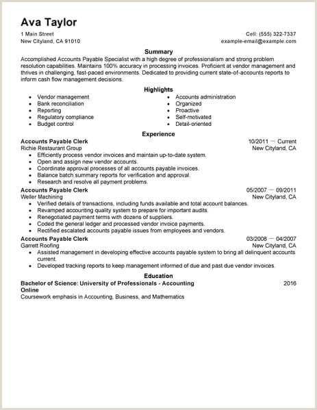 Standard Cv Format Pdf Indian Style Best Accounts Payable Specialist Resume Example