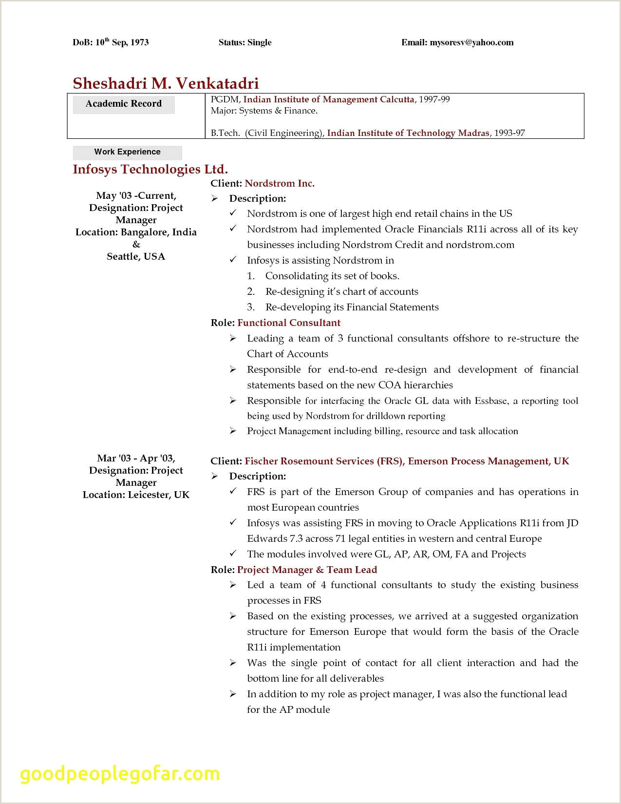 Standard Cv Format Pdf Indian Style New Cook Resume Examples