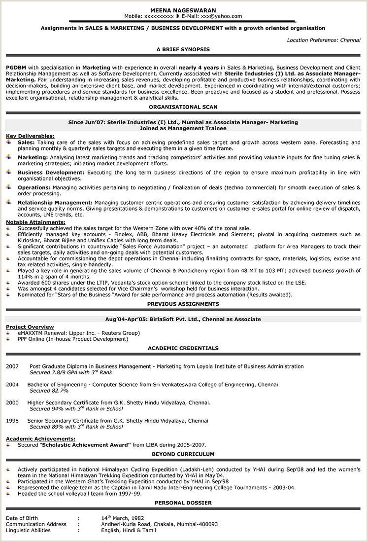 Sales Resume Format Samples Cv Sample Marketing India Mid
