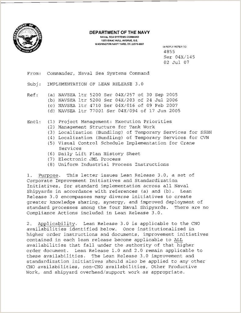 Naval Letter format Template Samples