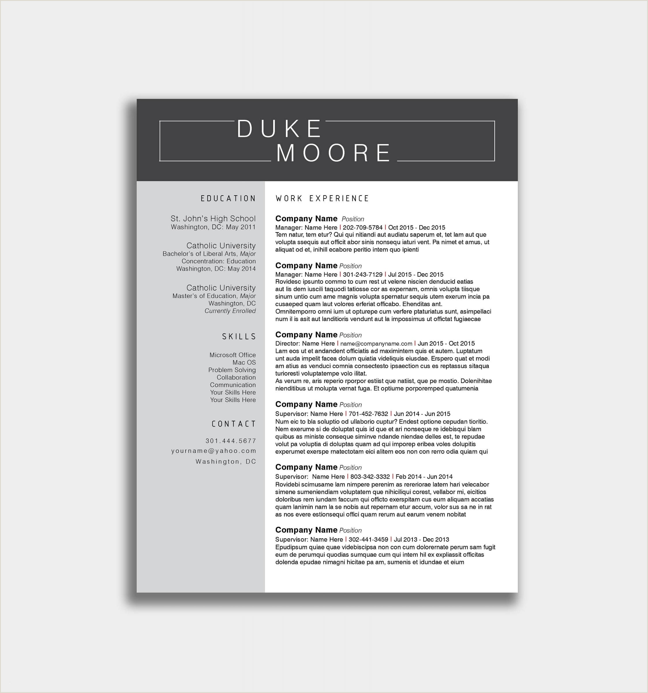 Standard Navy Letter format Modern Resume Template and Cover Letter Template for Word Diy