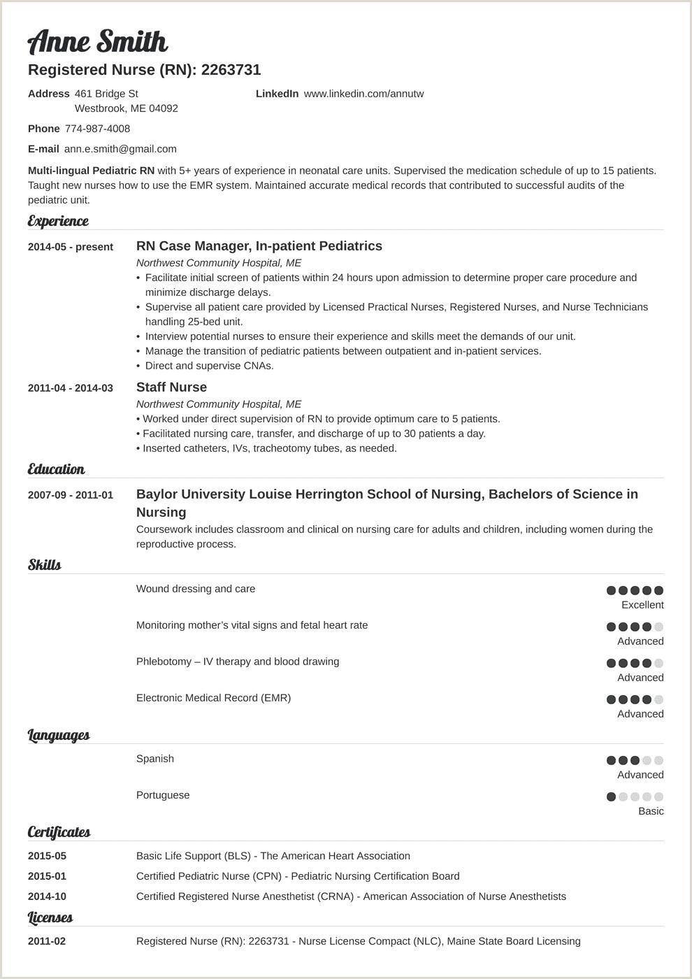 Standard Resume format for Experienced Pdf Nursing Resume Template & Guide [examples Of Experience