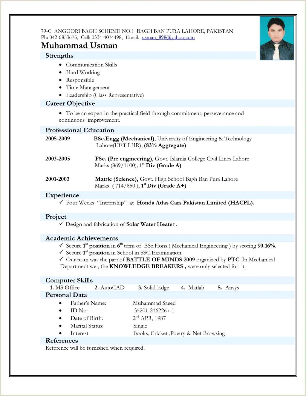 Resume Format For Engineering Freshers Pdf