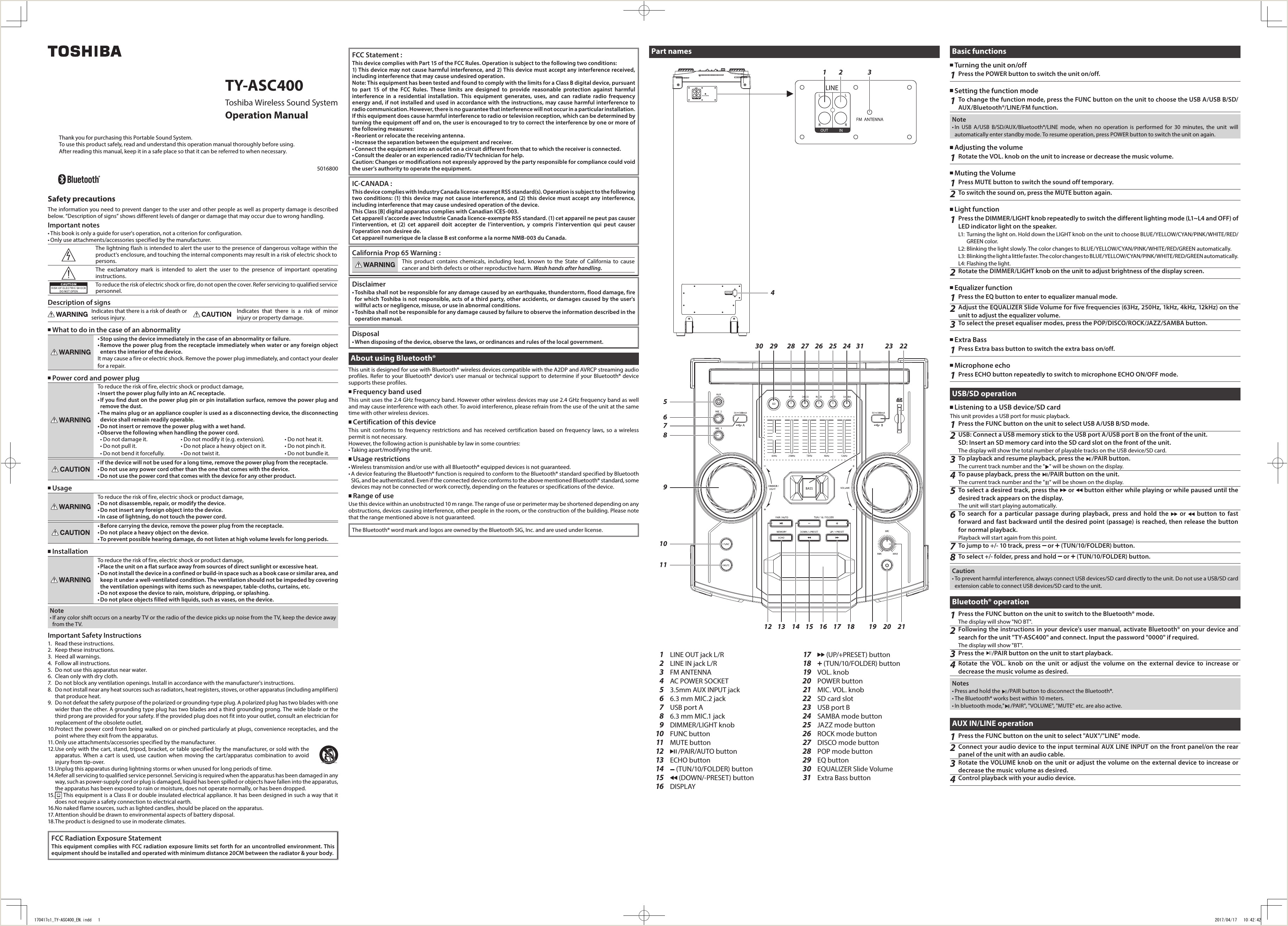 ASC400 WIRELESS SOUND SYSTEM User Manual c1 TY
