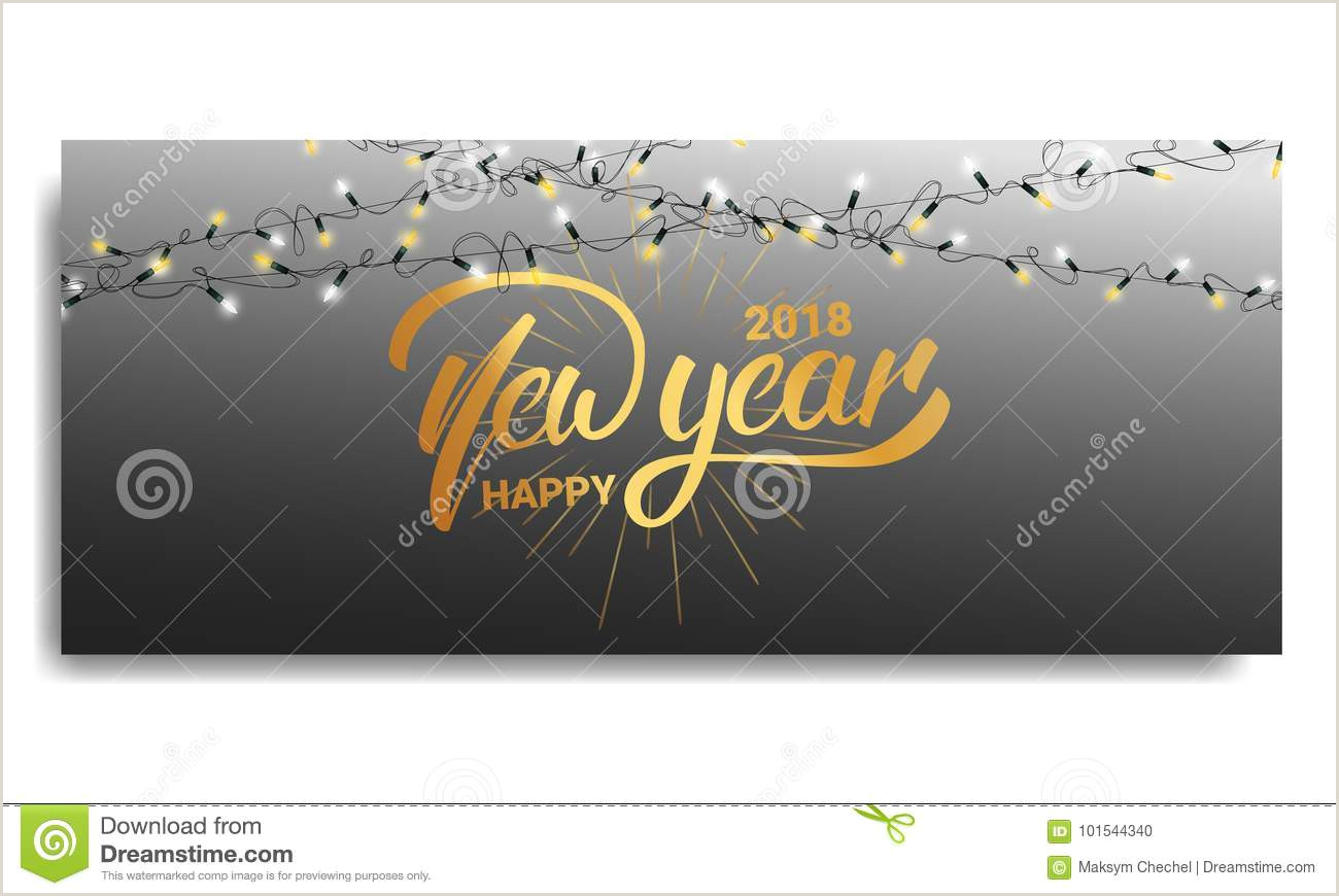 String Lights Invitation Template New Year 2018 Invitation Card Template with Glowing