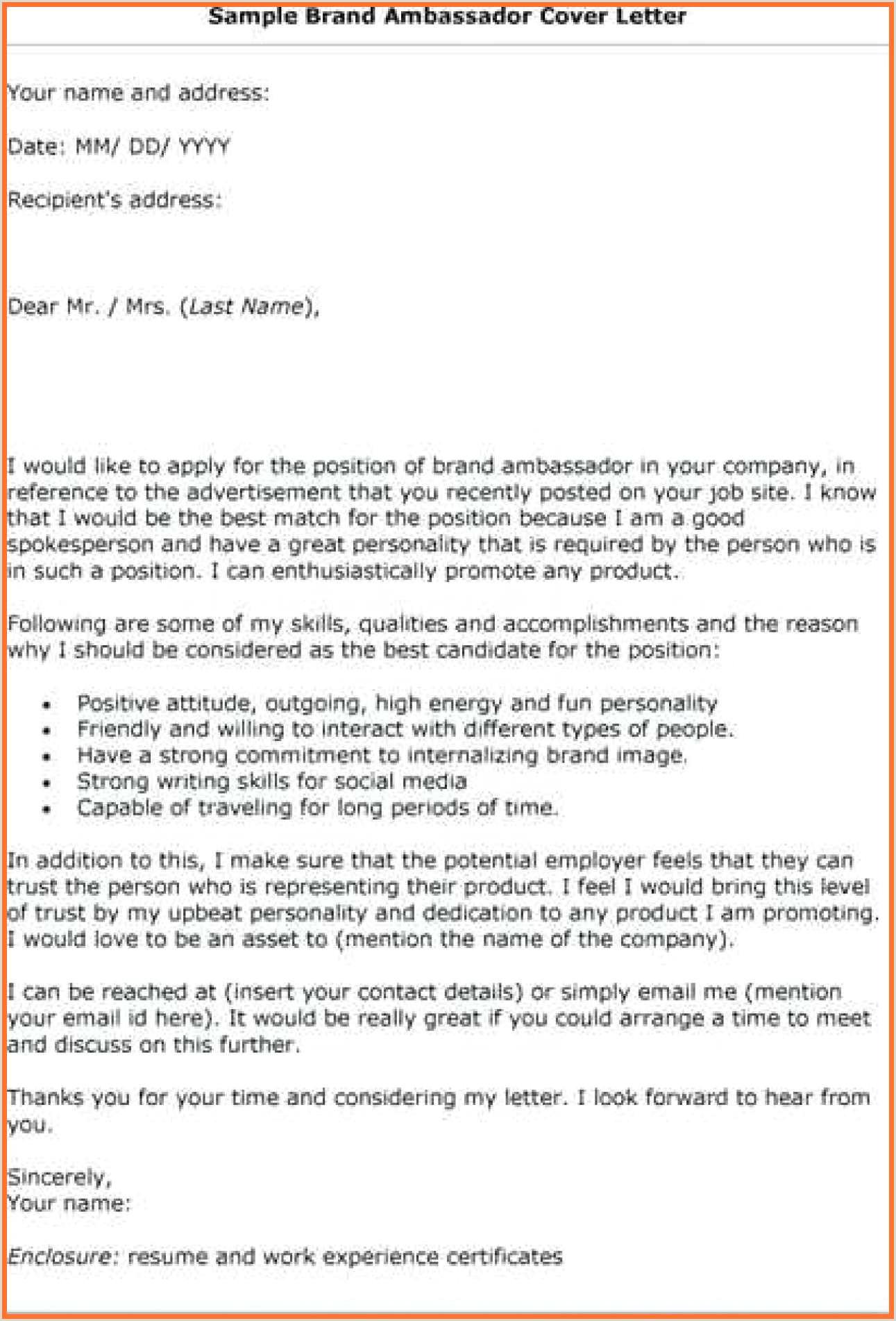 9 10 student ambassador cover letter