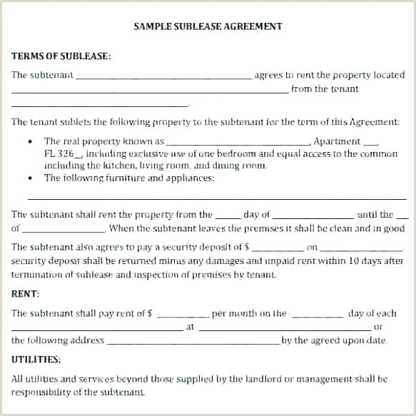 Free Sublease Contract Template Agreement Lease Forms Pdf