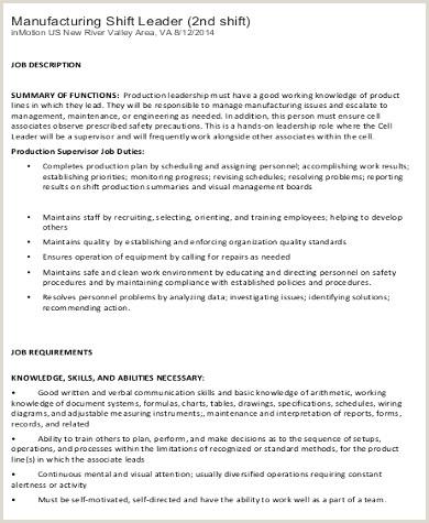 Subway Job Description for Resume New Shift Leader Job