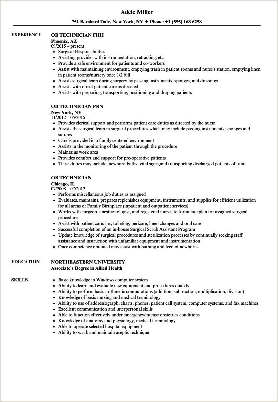Ob Technician Resume Samples Velvet Jobs Nurse Tech S