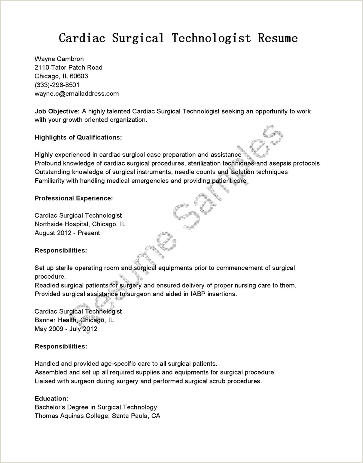 Surgical Technologist Resume Template – Printable Pretty