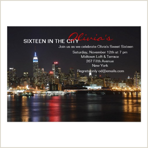 Personalized Sweet Sixteen In The City Invitations