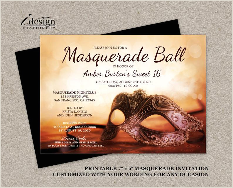Masquerade Sweet 16 Invitation Printable Mardi Gras Invitation