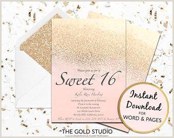 Sweet 16 invitation Blush Peach & gold glitter Sweet sixteen