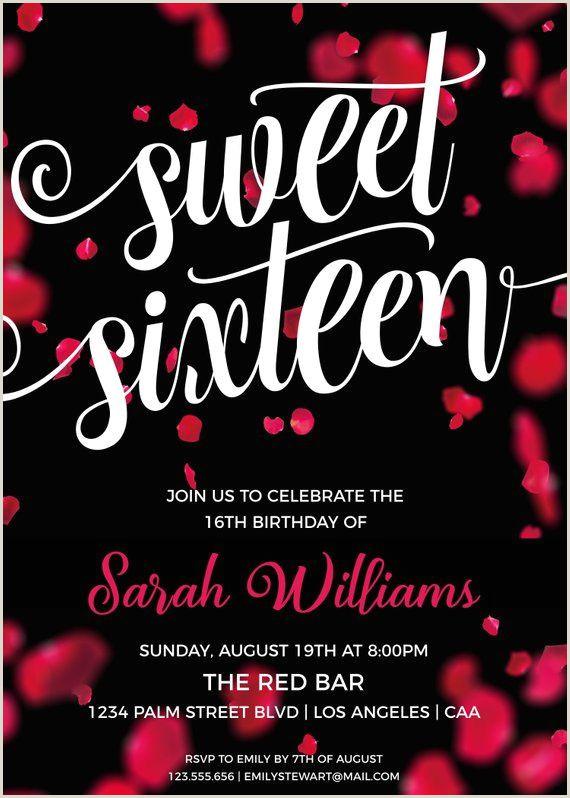 Sweet Sixteen Invite Templates Sweet 16 Invitation for 16th Birthday Birthday Invitations