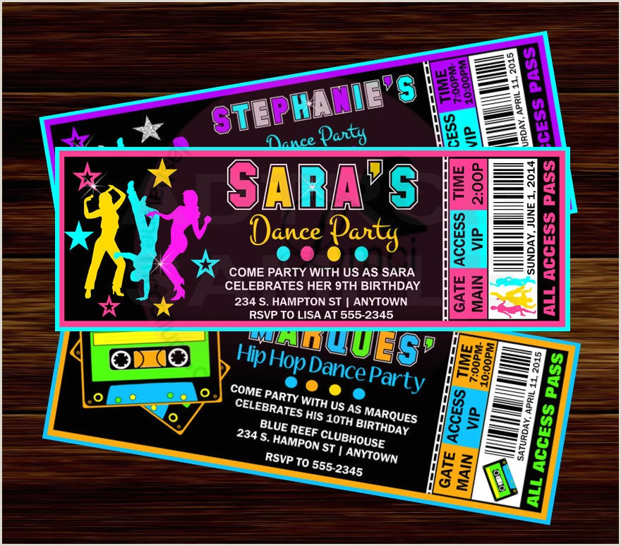 Sweet Sixteen Invites Wording Dance Party Birthday Invitation Hip Hop Dance Party Invitaton Digital File