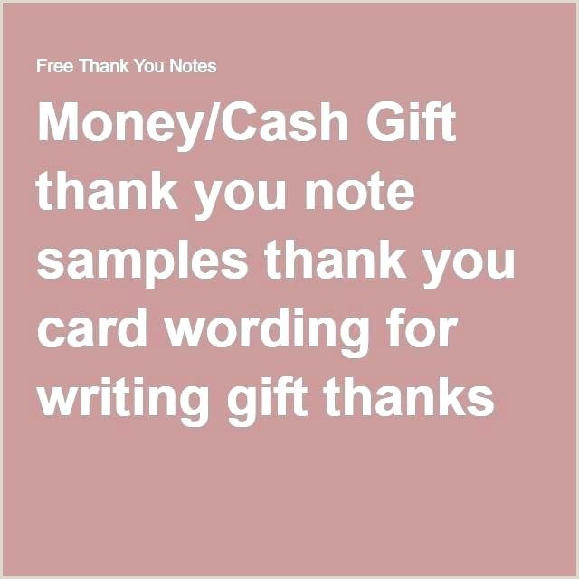 Wedding Thank You Note For Gift Card Money Cash Samples