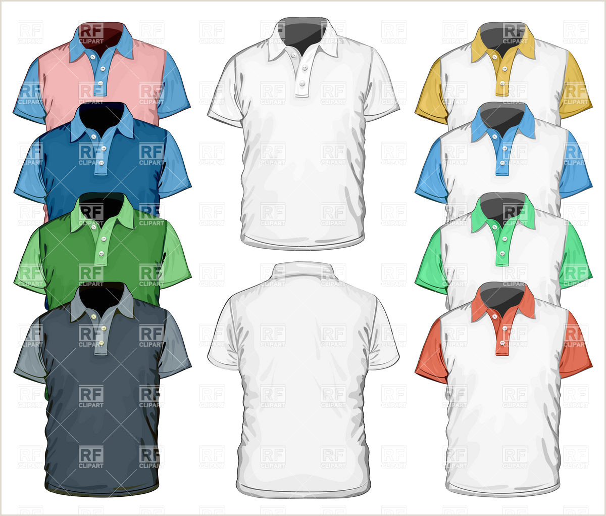 T Shirt Template Front and Back Men S Polo Shirt Full Color Design Template Stock Vector Image