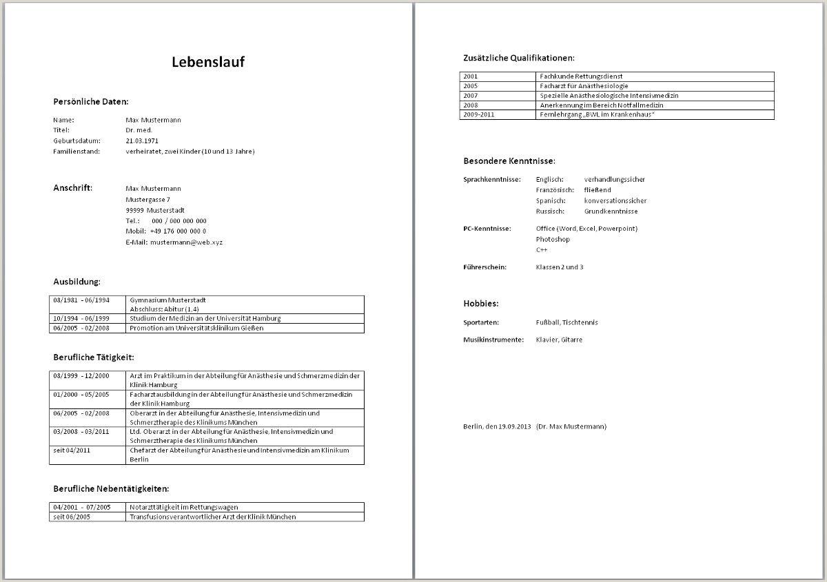 Tabellarischer Lebenslauf Muster Word Dokument Tabellarischer Lebenslauf Muster Aufbau Word Vorlage
