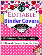 Teacher Binder Cover Templates Free Binder Covers Editable with 50 Colorful Designs