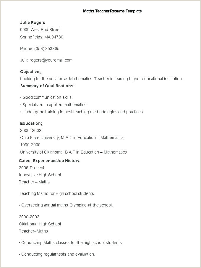 Teacher Resume for Fresher Math Specialist Sample Resume – Ruseeds