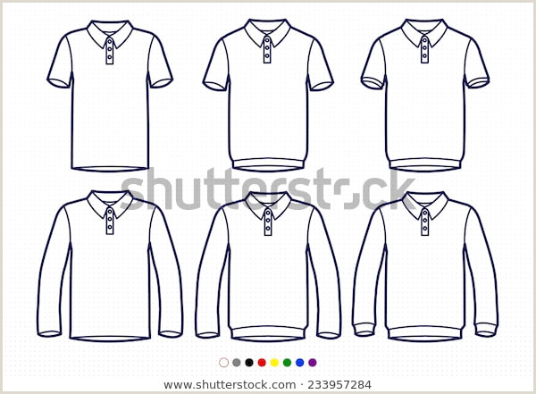 Tee Shirt Out Line Clothing Pictograms E Color Outline Polo Stock Vector