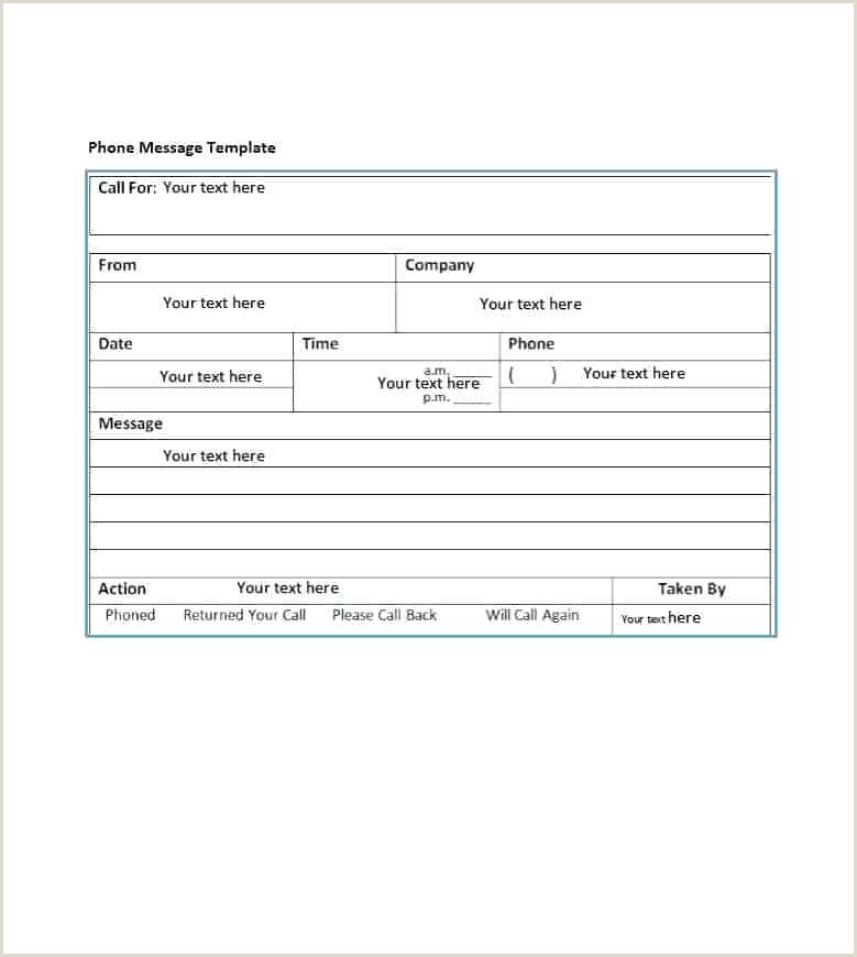 Telephone Message Pad Template Free Phone Message Template 9 Templates for Word Excel