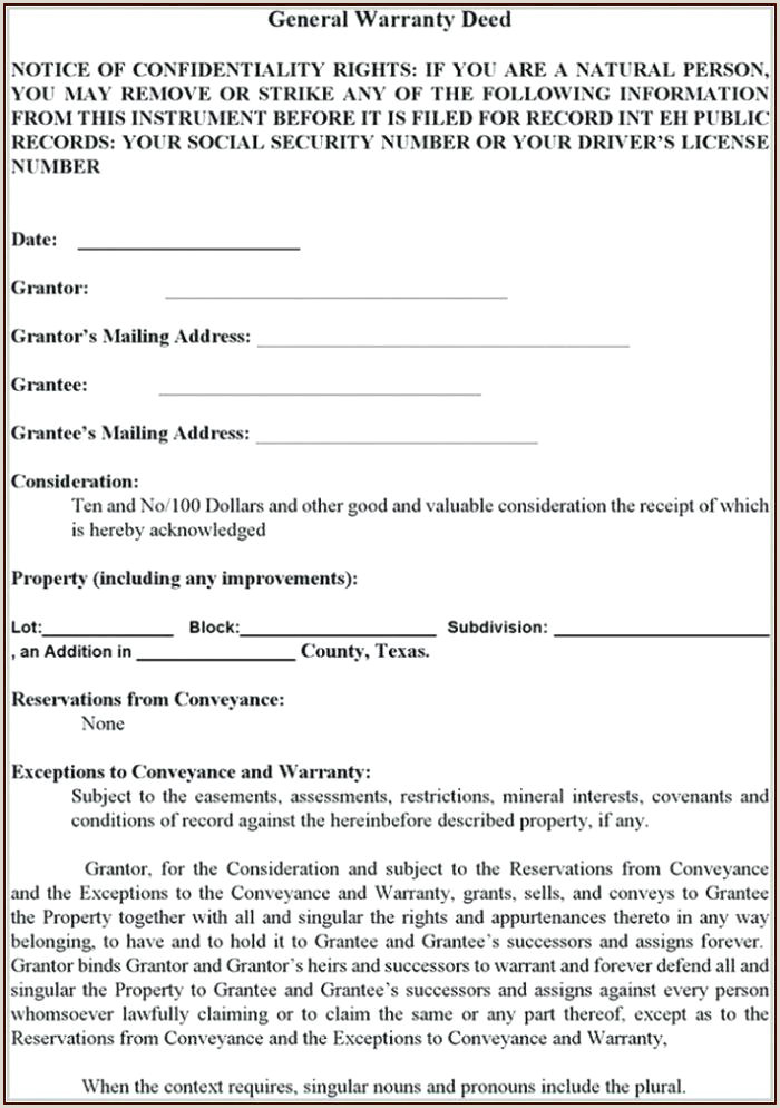Warranty Deed Template Special Printable Free Form No Iowa