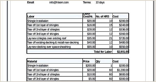 Price Sheet Template and Quote Templates Free Contractor