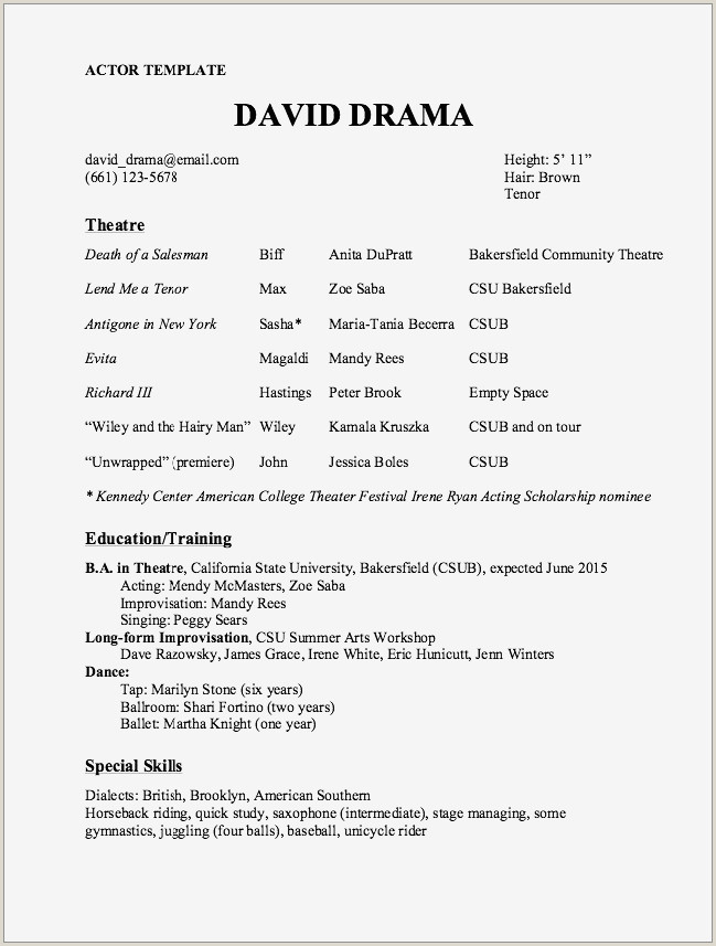 Sample Acting Resumes New theater Resume Example Acting