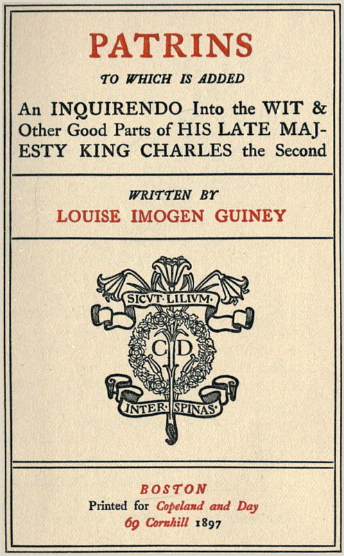 Tongue and Quill Memorandum Patrins by Louise Imogen Guiney A Project Gutenberg Ebook