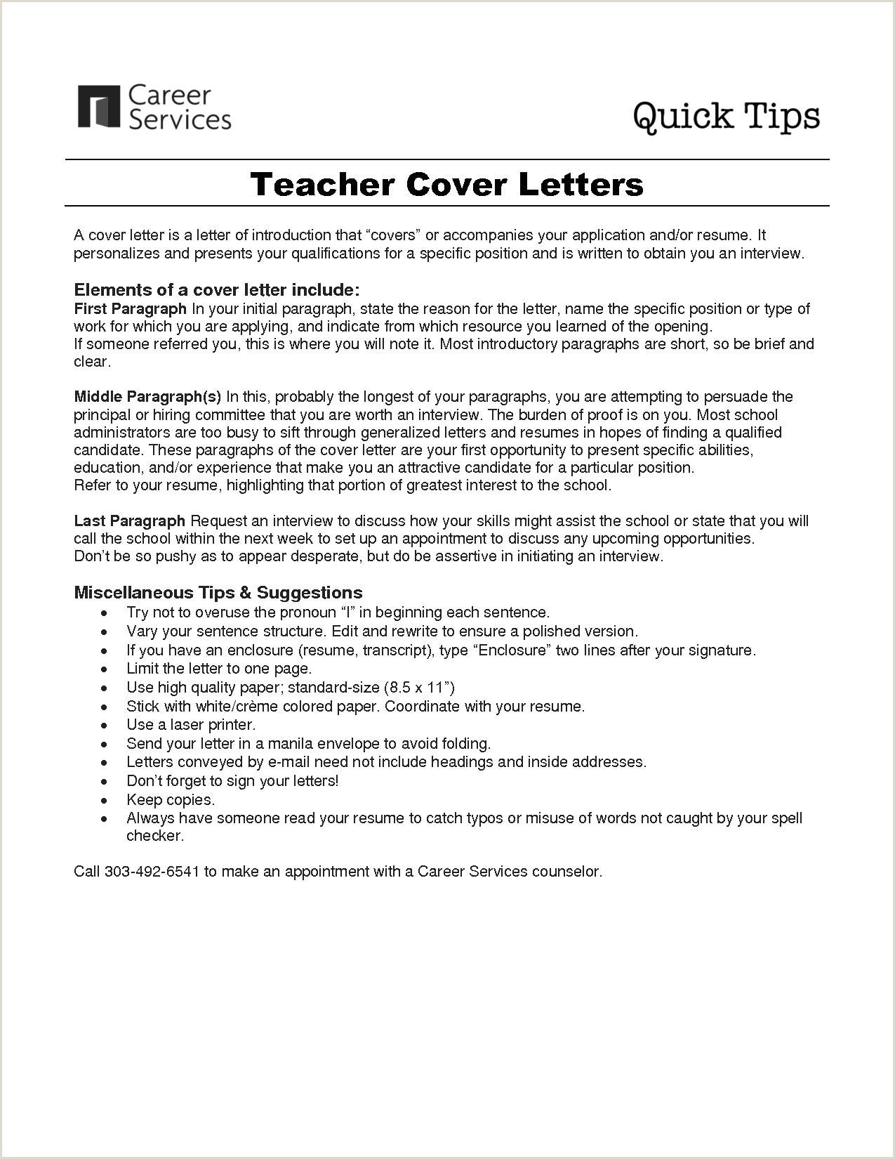 Teachers Cover Letter Sample Od Cover Letter