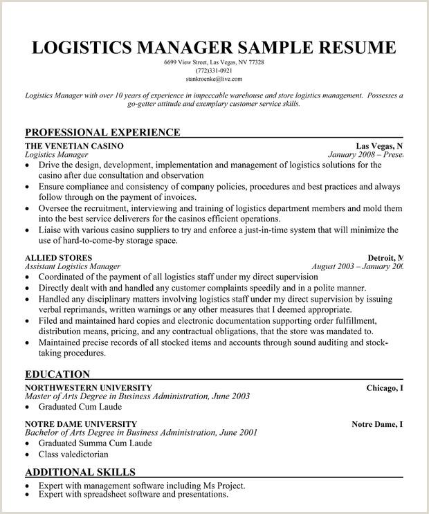 Transportation Logistics Manager Resume Sample
