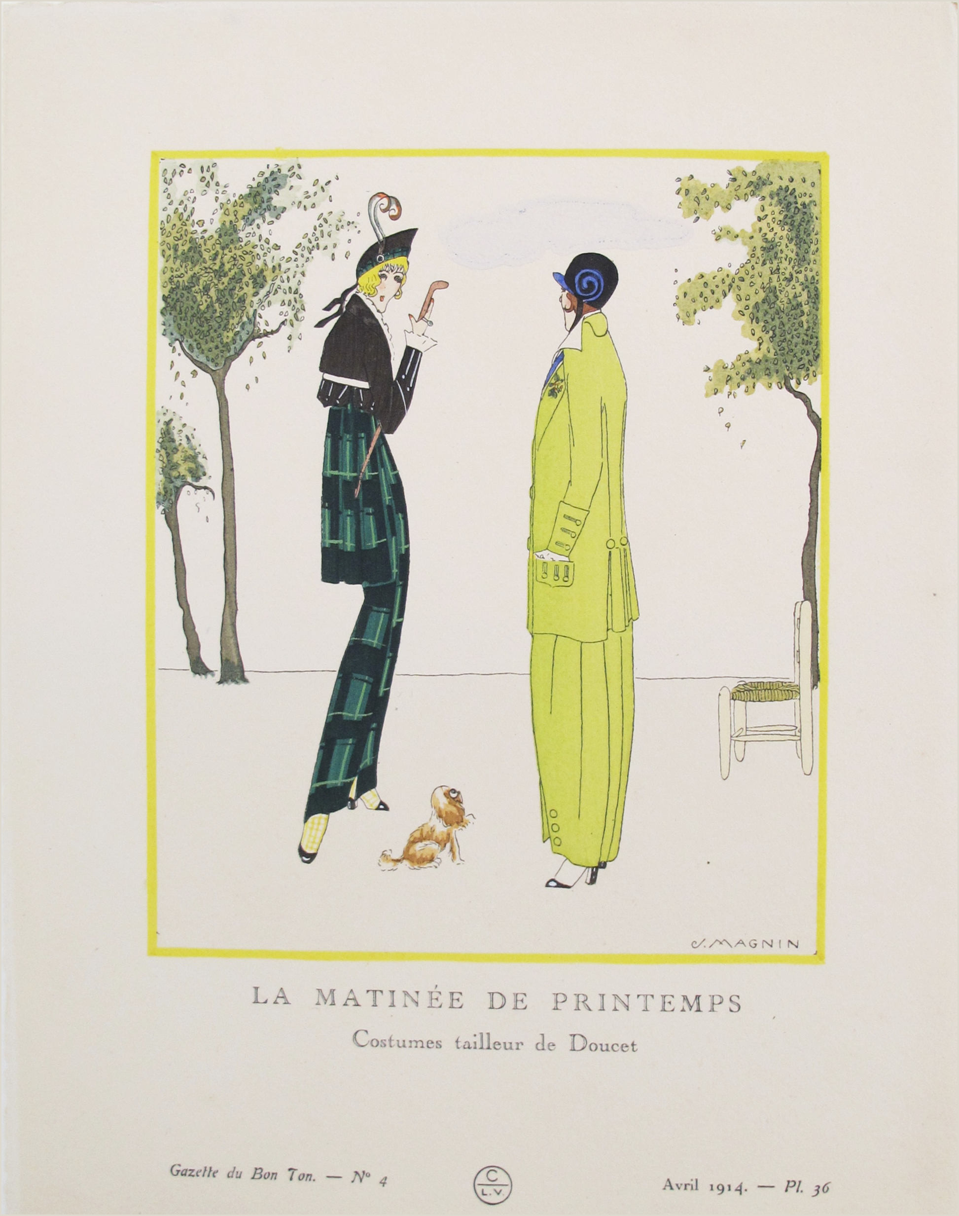 1914 Gazette du bon ton Art Deco French Fashion Pochoir Jacques Doucet Fashion by Jacques Magnin