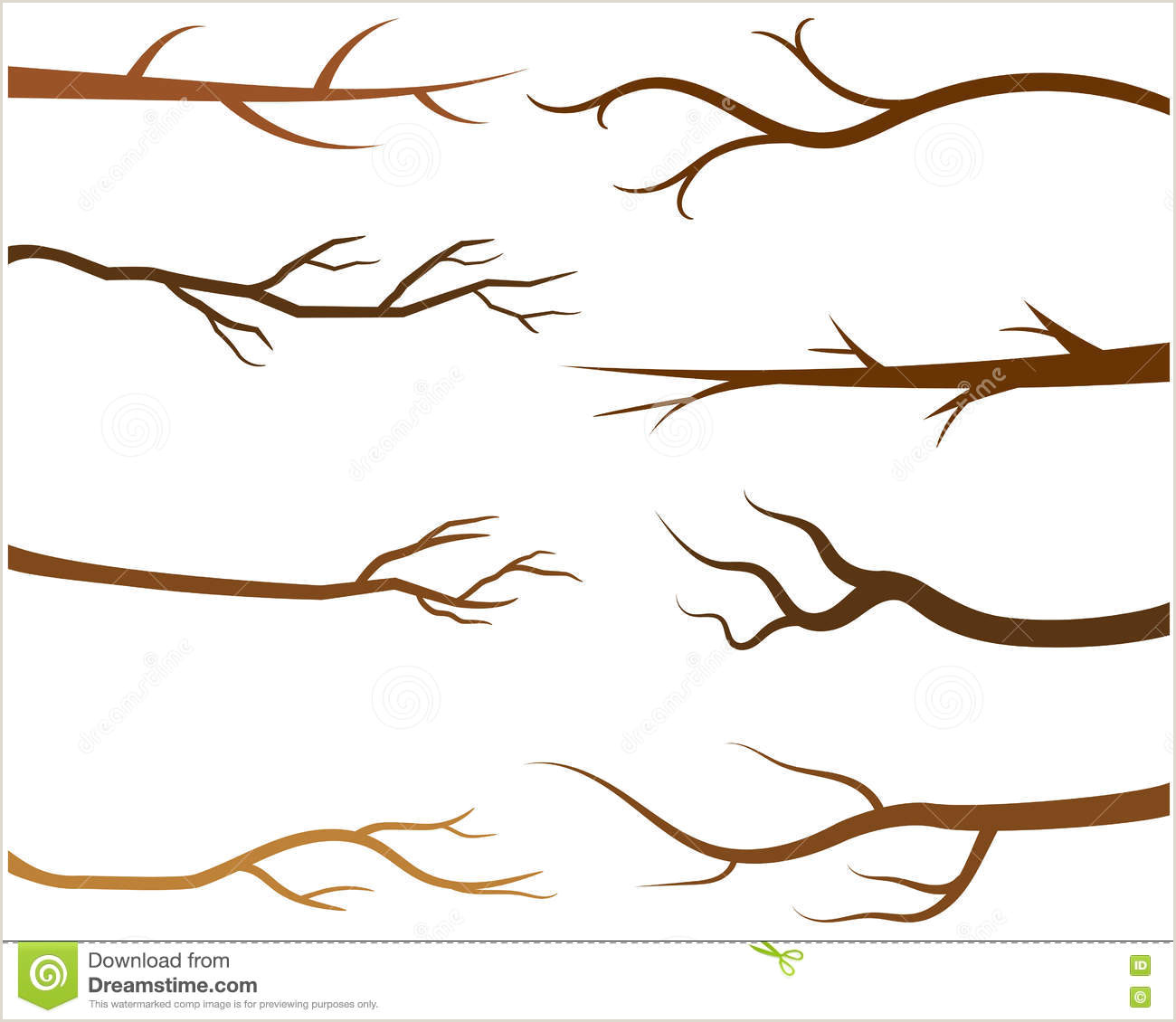 Brown Tree Branches Without Leaves Stock Vector