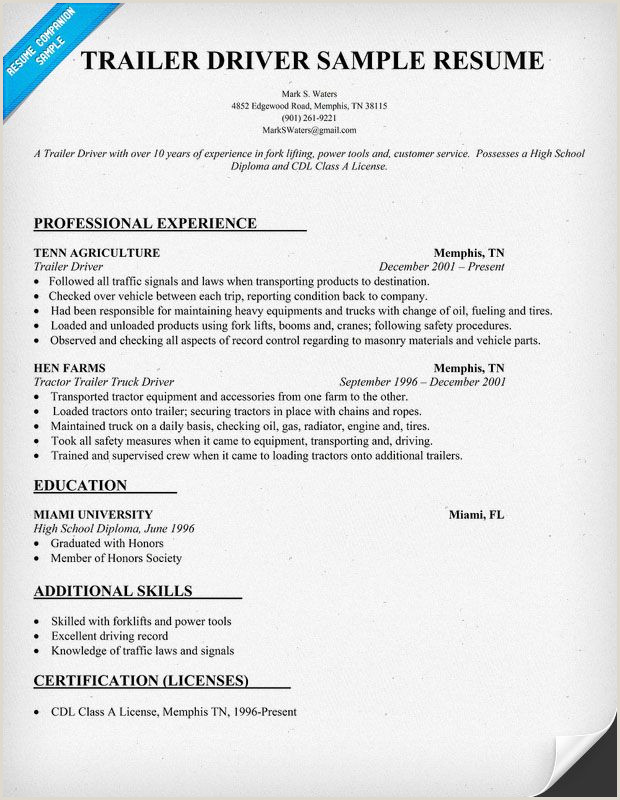 Truck Driver Resume Objectives Trailer Driver Resume Sample Resume Panion