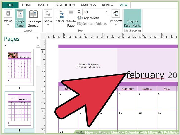 How to Make a Monthly Calendar with Microsoft Publisher 14
