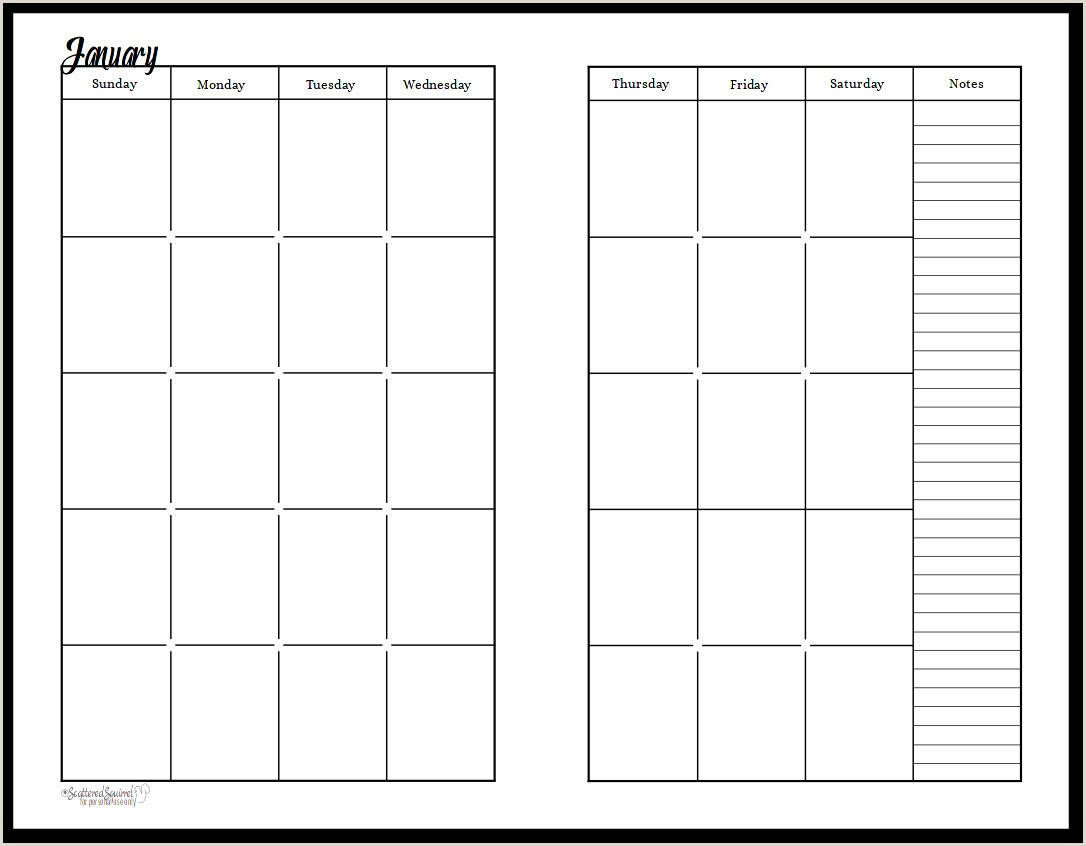 Two Page Monthly Calendar Template Undated Black and White Calendars Featuring Two Pages Per