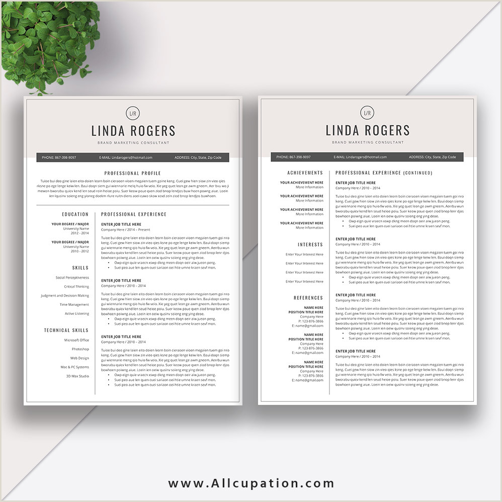 Two Page Resume format Resume Templates for Job Application Modern Cv Template Best Word Resume format 2 Pages Cover Letter References Instant Download Linda