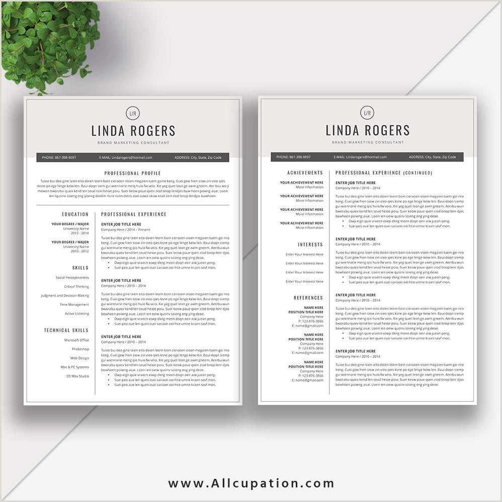 Resume Templates for Job Application Modern CV Template Best Word Resume Format 2 Pages Cover Letter References Instant Download LINDA
