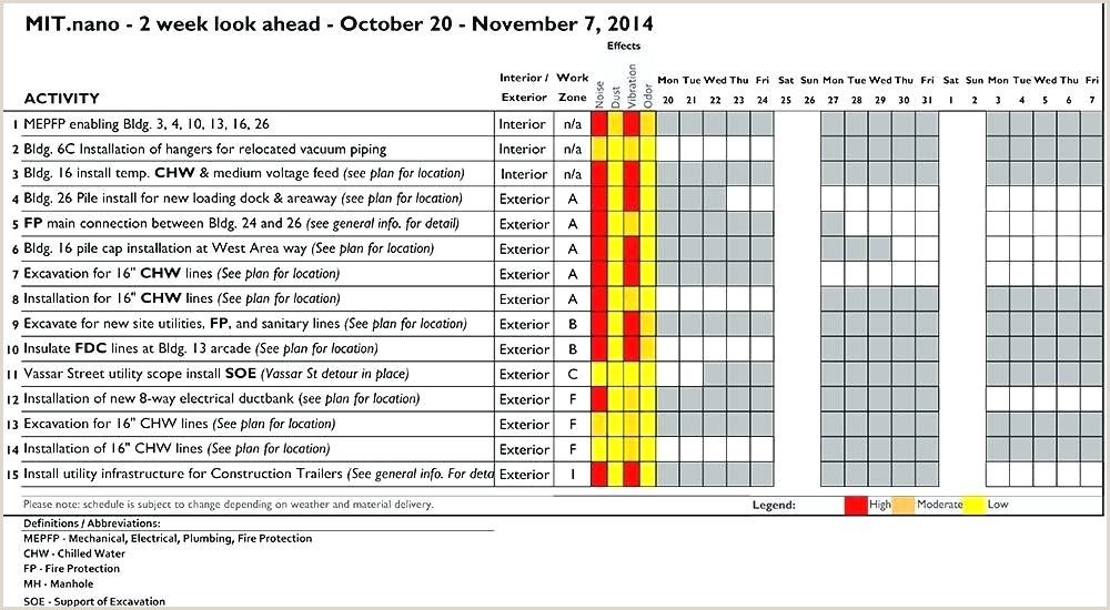 Two Week Look Ahead Schedule Template 6 Week Work Schedule Template Yearly Free Excel Weekly