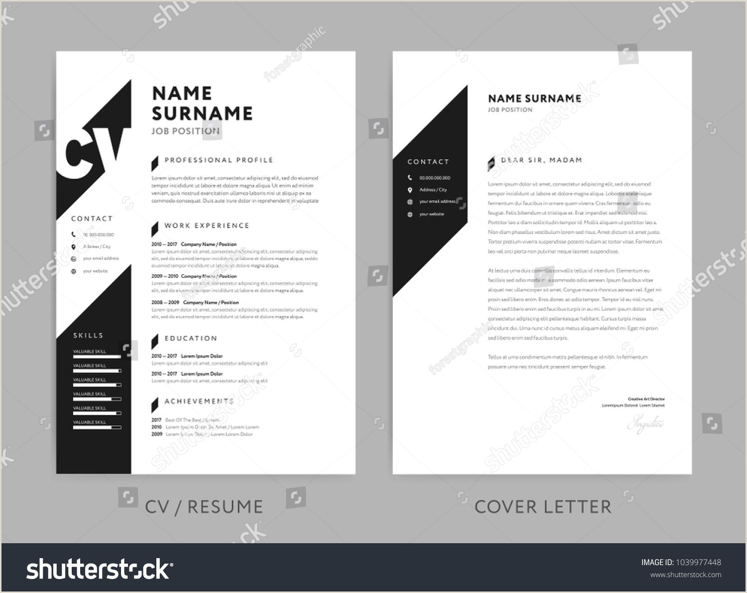 Minimalist CV resume and cover letter minimal design