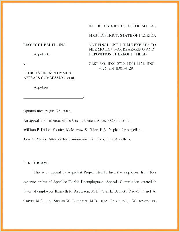 court appeal letter template