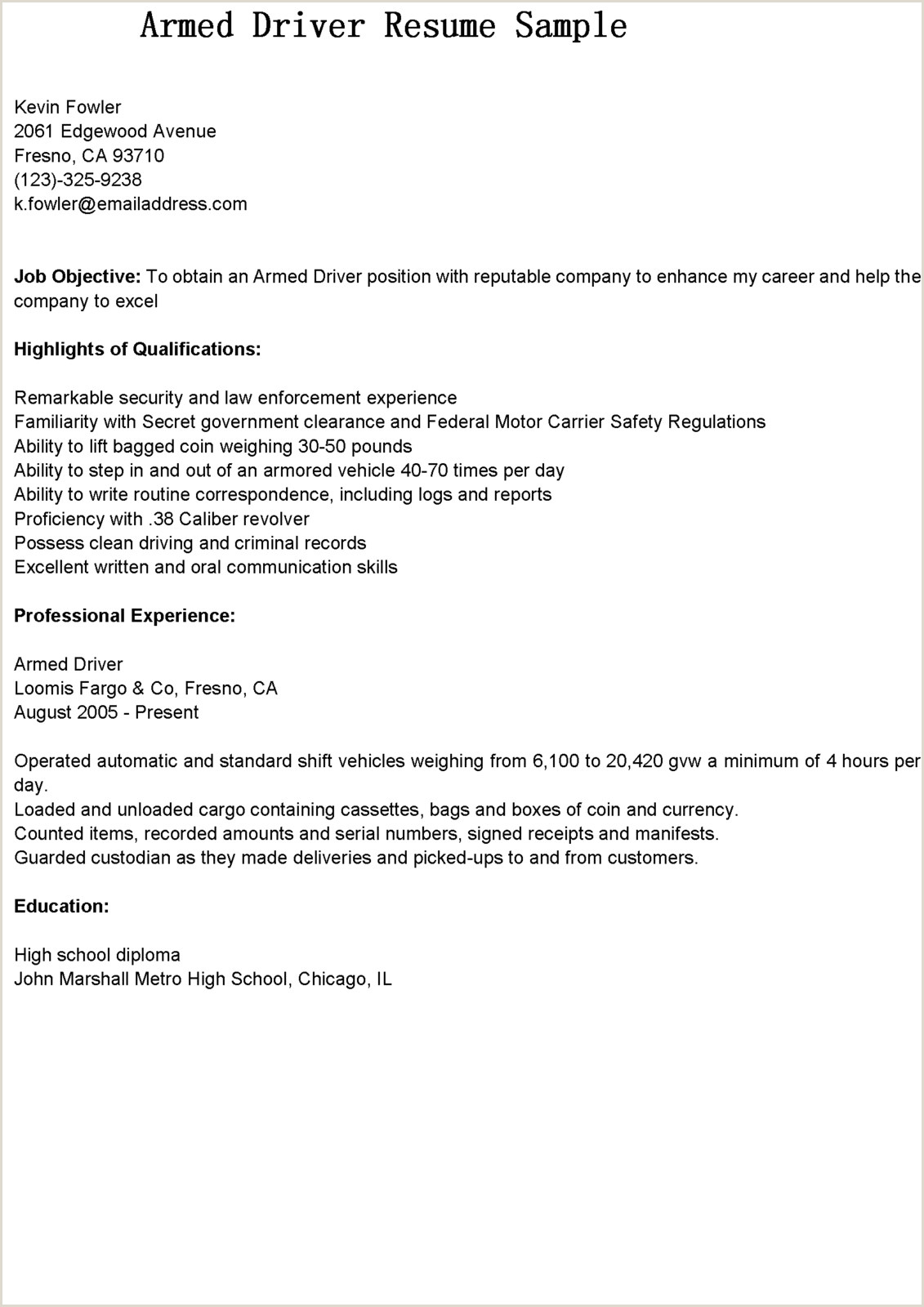 Ups Driver Resume Sample Following An Example to Write Your Own Expository Essay