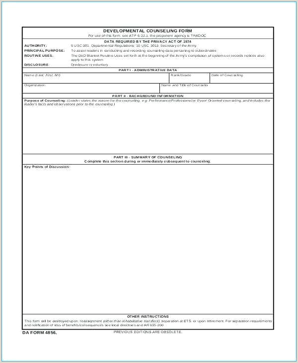 Us Army Initial Counseling Army Counseling Template – atlasapp