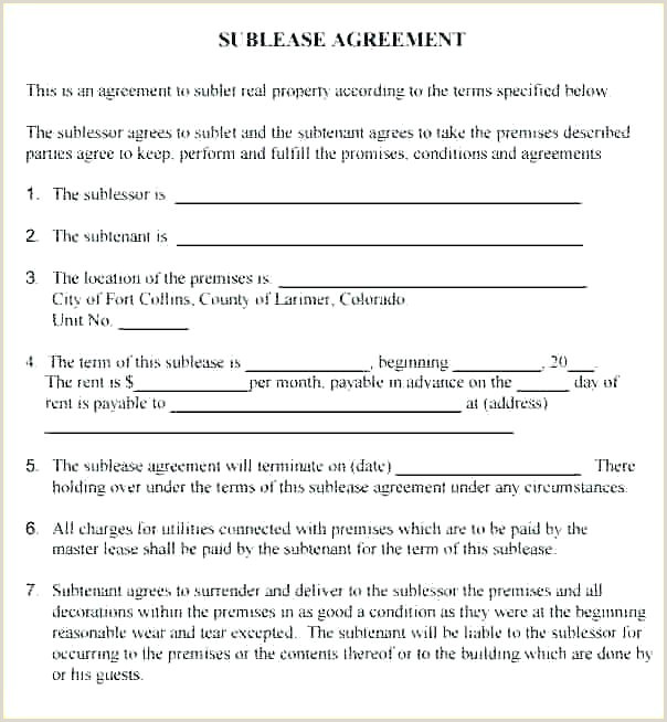 Vehicle Sublease Agreement Template Mercial Sublease Agreement Template Ontario – Bighaus