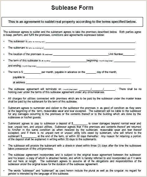 sub lease template