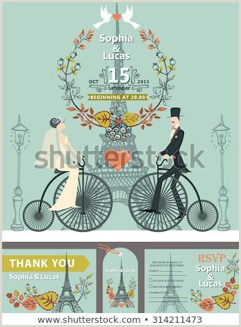 Vintage Wedding Invitation Cartoon Flat Bridegroom Stock