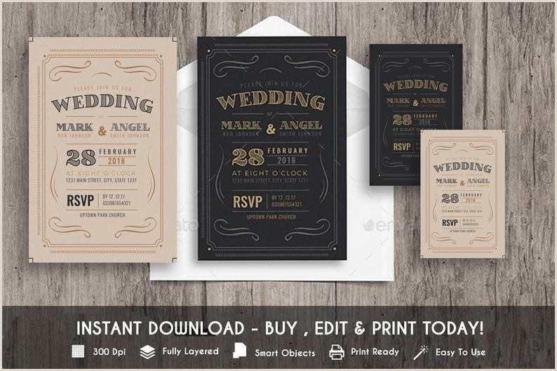 Vintage Wedding Invitation PSD & AI Template Vintage wedding templett instant