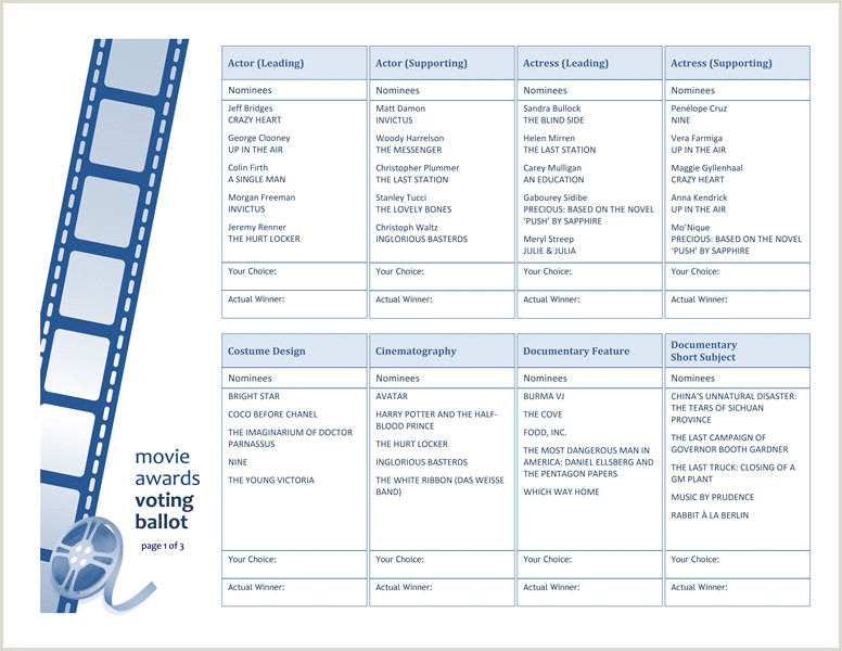 Voting Ballot Template for Word Movie Awards Ballot Templates I Love